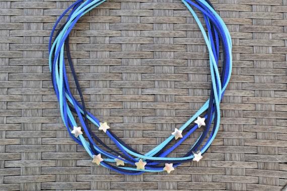 Blue necklace,statement necklace,stars necklace,stars choker,stars bib,blue stars necklace,suede choker,suede necklace,beaded necklace
