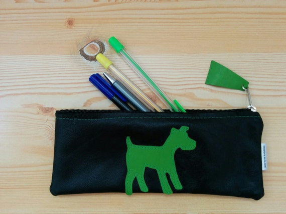 Leather pencil case,leather pencilcase,leather pouch,dog pencil case,black pencil case,leather case,leather coin purse,dog leather,dog pouch