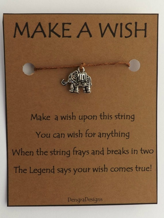 SMALL ELEPHANT Wish String Friendship Bracelet Charm Band Magic Wishes Prayer Hope Cord Color Choice