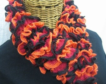 Hand Knit tricolor ORANGE BLACK RED ruffle frilly scarf girls teens women with matching scrunchie