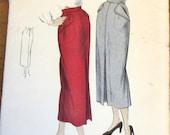 Vogue 6741 Slim Sheath Skirt, Flap Hip Pockets, Front Pleat, Women's Misses Vintage 1940s Sewing Pattern Waist 24 Hip 33 Unprinted Complete
