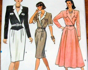 Vogue 9708 Shirt Dress, Basque Waist, Two Skirts, Women's Misses Vintage 1980s Sewing Pattern Size 6 8 10 Bust 30 31 32 Uncut Factory Folds