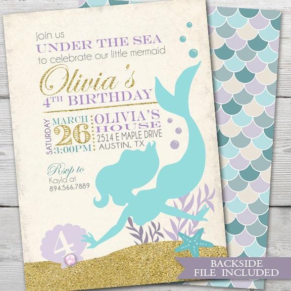 Mermaid Birthday Invitation PRINTABLE Mermaid Birthday Party