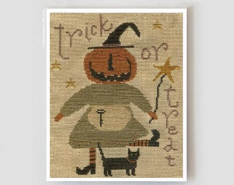 Tricks and Treats : With Thy Needle Country Stitches counted cross stitch patterns Brenda Gervais Halloween witch pumpkin hand embroidery