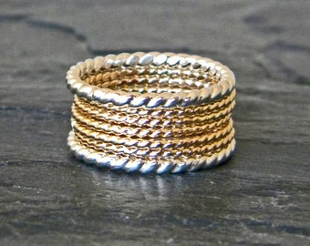 Gold and Silver Rings - Thin Stacking Rings - Dainty Ring Set - Silver and Gold Rings - Stackable Ring Set - Mixed Metal Rings - Gold Fill