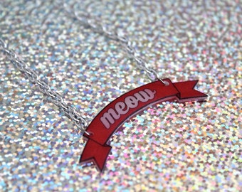 Meow Banner Necklace