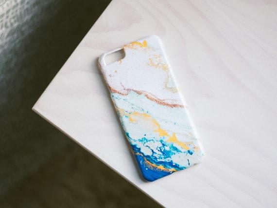 iPhone 6 Case - Blue and Gold Glitter Agate iPhone Case - iPhone 6 case - Hard Plastic, Slim Fit