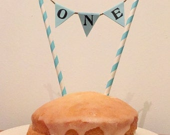 First Birthday Cake Topper Bunting Baby Boy One 1 Pale Blue Cake Decoration