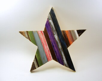 wood star collage painted upcycled wall hanging