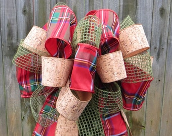 Christmas Tree Topper,Cork, Burlap Mesh, Plaid Christmas Tree Topper, Burlap / Cork Tree Decor, Tradition Topper, Shabby Chic Christmas Tree