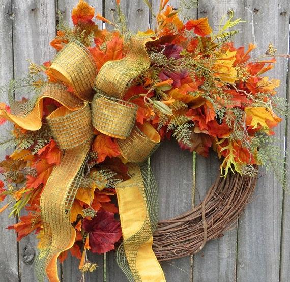 Fall Wreath - Fall / Autumn Wreath - Fall Wreath in Natural Colors, Elegant Fall Bow,  Harvest Wreath