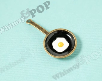 1 - Large 3D Antique Bronze Fried Egg Pan Chef Pendant Charms, Egg Charm, Frying Pan Charm,  47mm x 25mm (R6-145)