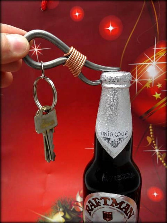 STOCKING STUFFER for MEN -  Stuffings - Bottle Opener -  Personalization Option Available - Gift Idea - Forged and Signed by Blacksmith Naz