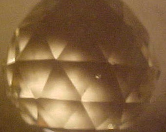 """Chandelier Crystal Glass Ball 3.6"""" Vintage 60s"""