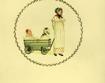 Kate Greenaway print - vintage book plate to frame - a girl with her dolls in a cart - 1980s print - nursery home decor