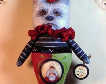 Folk Art Christmas west west highland terrier Ornament Primitive Vintage Style Art  Penny Grotz soft sculpture Hafair