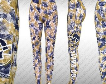Custom Hand Painted LA Rams Leggings,Custom Painted Rams Gear,Team Spirit Gear,Sports Fan Gear,Football Team Spirit Gear,LA Rams Fan Gear