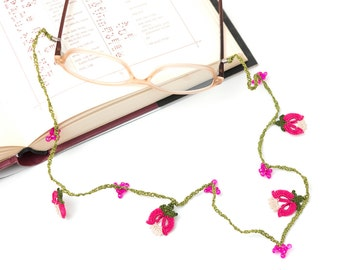 Glasses Strap-Pink Crochet Eyeglasses Strap, Tulip Flower Glasses Chains, Glasses Holder, Bohemian Jewelry, Crystal Cord, Handmade Accessory