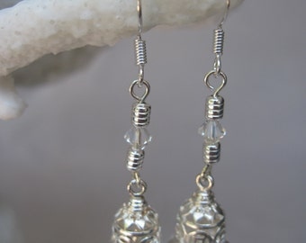 Petite and Feminine Influenced Silver Bell Earrings with Clear Swarovski Crystals