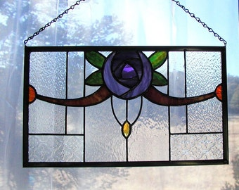 Rose Window, Purple Glass Rose, Amethyst Rose Panel, Stained Glass, Old Rose Panel, Window Art, Glass, Home and Living,Home Decor,Decorative
