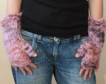 Short Fingerless Gloves, Pink Mohair Fingerless Gloves by Solandia, Hand knit fingerless gloves, pink arm warmers, spring gloves