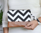 Chevron Wristlet, Wristlet Wallet, iPhone Pouch, Vegan Leather Zippered Pouch, Cellphone Wristlet, Bridesmaid Gift - MORE Colors available