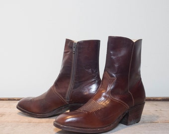 7 D | Men's 1970's Spanish Dan Post Boots Brown Leather Zipper Ankle Boots / Beatle Boots / Packer Heels