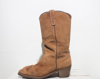 8 M | Women's Wolverine Cowboy Boots Honey Brown Rough Out Suede Western Wear