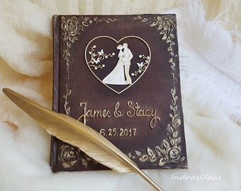 Personalized guest book, Wedding Guest Book, wedding notebook, Wedding Journal Custom Guest Book Bride and Groom, Modern Wedding, brown gold
