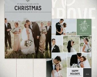 Christmas Card Template: Mistletoe B - 5x7 Holiday Card Template for Photographers