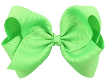 "Lime Green Hair Bow / 5"" BIG Bow / Flower Girl / Photo Prop / Pageant / Birthday / Baptism / Infant / Baby / Girl / Toddler / Boutique"
