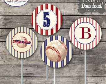 Vintage Baseball Party Circles/Cupcake Toppers - INSTANT DOWNLOAD - Editable & Printable Birthday Decorations by Sassaby Parties