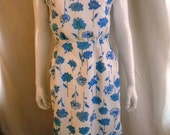 1960's Dress Vintage Floral Wiggle Dress Blue and White 38 x 27 x 38