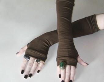 Dark Brown armwarmers cotton knit medieval renaissance gauntlets fusion dancing visual kei Regency burlesque bohemian victorian edwardian