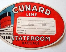 LOT Of 11 CUNARD Luggage Labels 1950s Original Old Stateroom Baggage Red Black White Blue Large Oval
