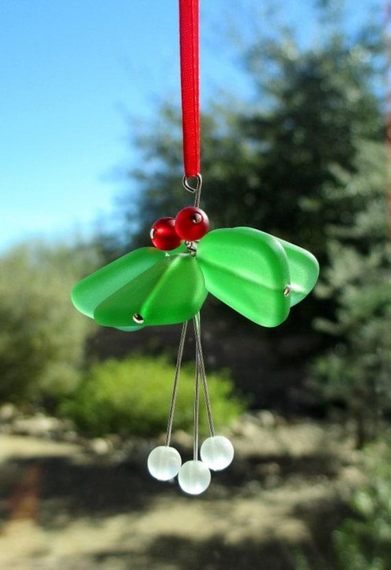 Seaglass Mistletoe Ornament