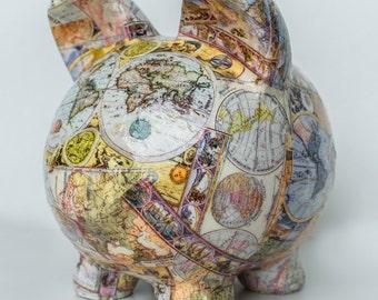 """Large Piggy bank Old World Map Decoupage Ceramic Piggy Bank - """"Magellan""""large"""