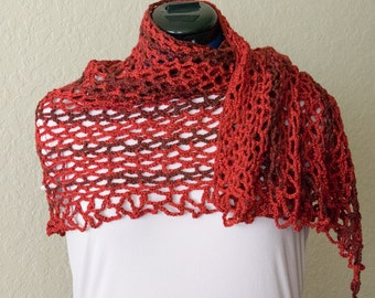 Lacy Hibiscus Red Lightweight Crochet Shawl