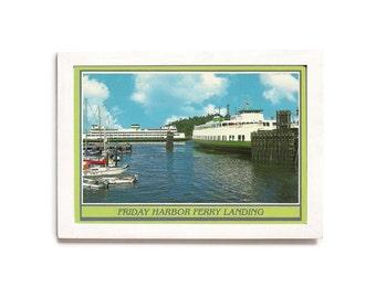 Ferry Landing • Friday Harbor Washington • San Juan Island Photo • Ships and Docks • Framed Postcard • Water Scene Decor • Nautical Theme