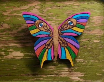 Technicolor Triad-  Hand Painted Laser Engraved Wooden Veneer Butterfly