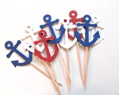 Nautical Anchor Cupcake Toppers, Shower, Wedding, Party Decor, Red White and Blue, Double-Sided, Set of 18