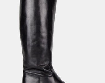 Black LEATHER Knee High Boots Vtg 80's Sudini Italy Tall Fitted Riding Round Toes Chelsea Minimalist Goth Classic Stretch Panel - 7 US/37 EU