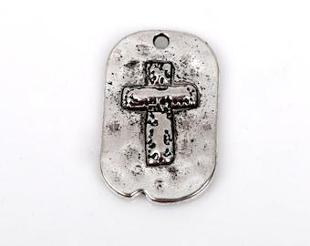 5 Silver Rustic Cross Dog Tag Charm Pendants, Metal Cross Charms, Hammered Metal, Embossed Cross, 29x18mm, chs2344