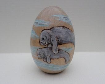 manatee Easter egg, wood egg , manatee paperweight, wood burning, pyrography