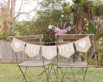 SALE! Mr and Mrs wedding banner -- Mr & Mrs sign, burlap wedding banner, MARKED DOWN from 20.00