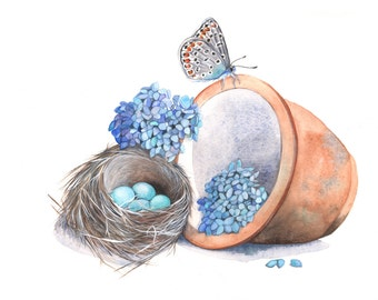 Butterfly and Robin's nest watercolour painting BP6315 - 5 by 7 size print - whimsical garden painting
