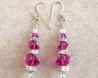Bridal Jewelry, Chandelier Earrings, Burgandy Earrings, Swarovski Crystal Earrings, Dangle Earrings,Hand Made in America,Bridesmaid Earrings