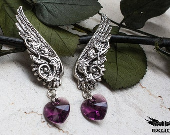 Dangle Earrings - Purple Heart Earrings - Valentine's Day Gift - Angel Wing Earrings - Romantic Jewelry