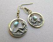Mermaid Ocean Colored Pearl Dangle Earrings, Mother of pearl blue, Ocean Mermaid earrings