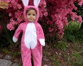 "Pink Bunny Rabbit Costume for 18"" Dolls Handmade Soft Fleece Easter Bunny Outfit Bright Pink Fuchsia"